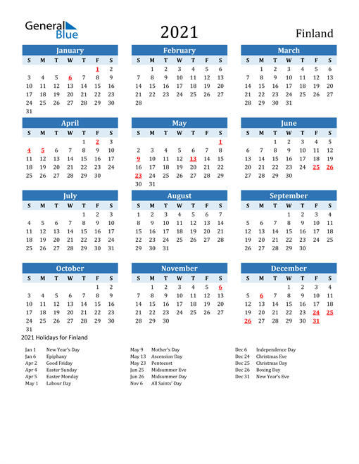 Image of Finland 2021 Calendar Two-Tone Blue with Holidays