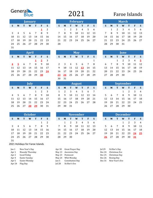 Printable Calendar 2021 with Faroe Islands Holidays
