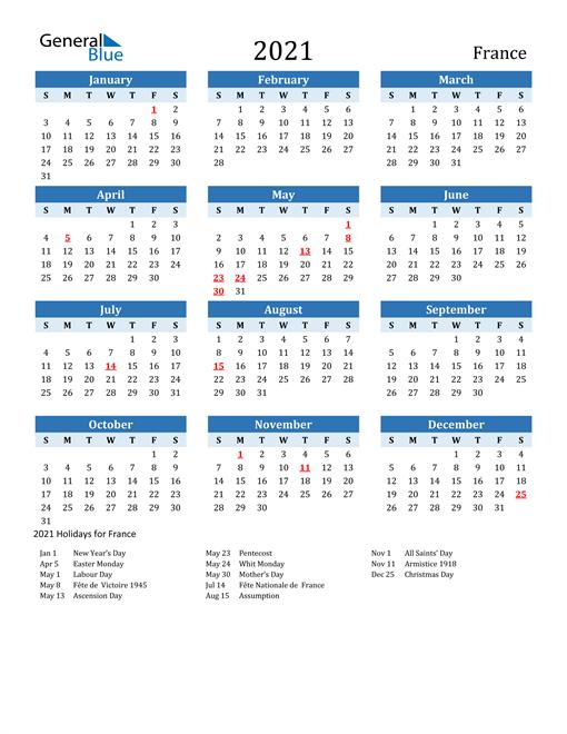 Printable Calendar 2021 with France Holidays