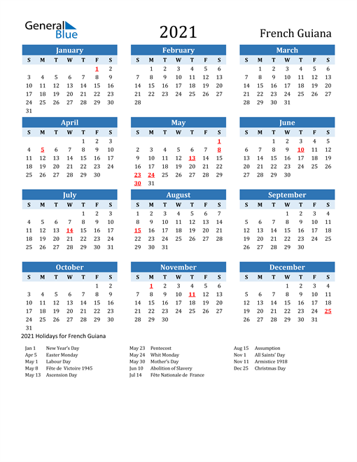 Image of French Guiana 2021 Calendar Two-Tone Blue with Holidays