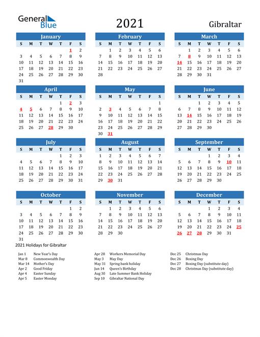 Printable Calendar 2021 with Gibraltar Holidays