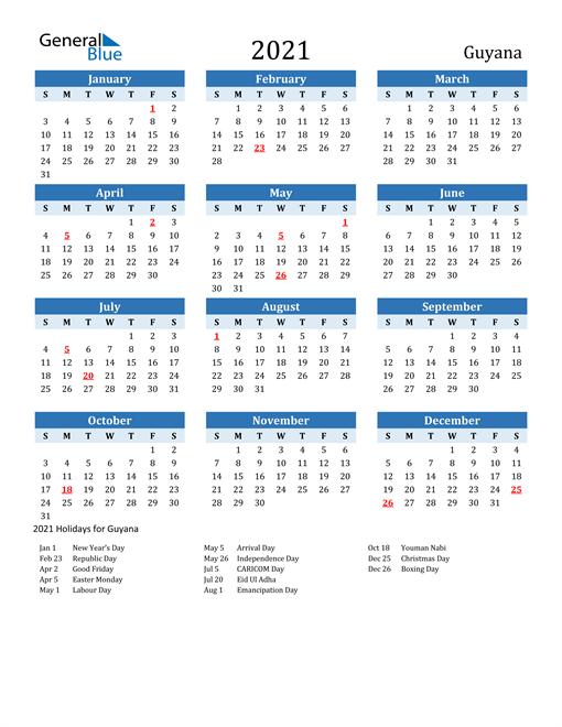 Printable Calendar 2021 with Guyana Holidays