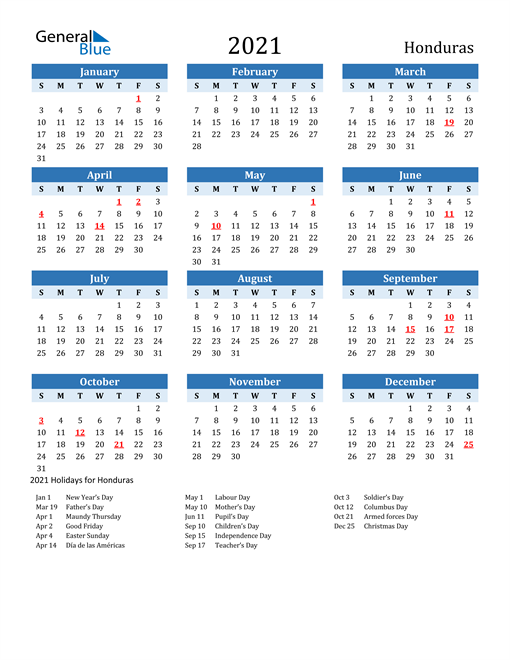 Image of Honduras 2021 Calendar Two-Tone Blue with Holidays