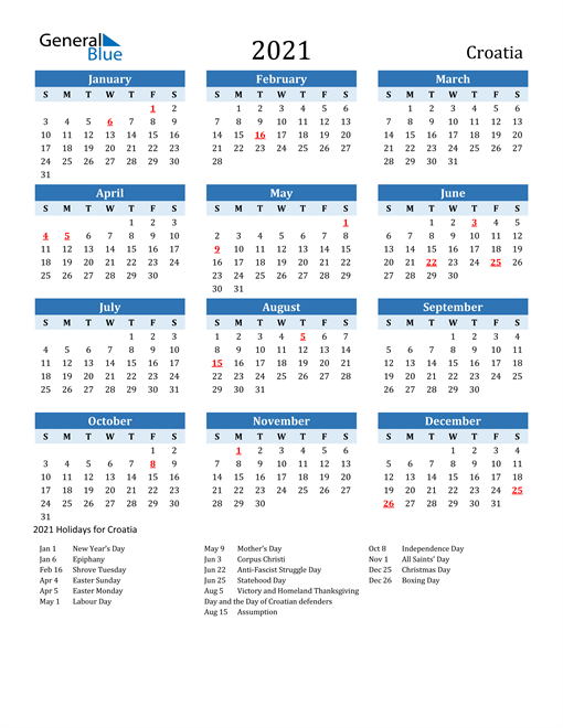 Image of Croatia 2021 Calendar Two-Tone Blue with Holidays