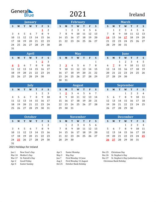 2021 Calendar - Ireland with Holidays
