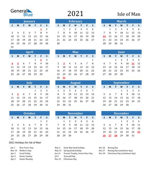 Printable Calendar 2021 with Isle of Man Holidays