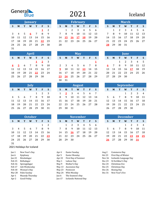 Image of Iceland 2021 Calendar Two-Tone Blue with Holidays