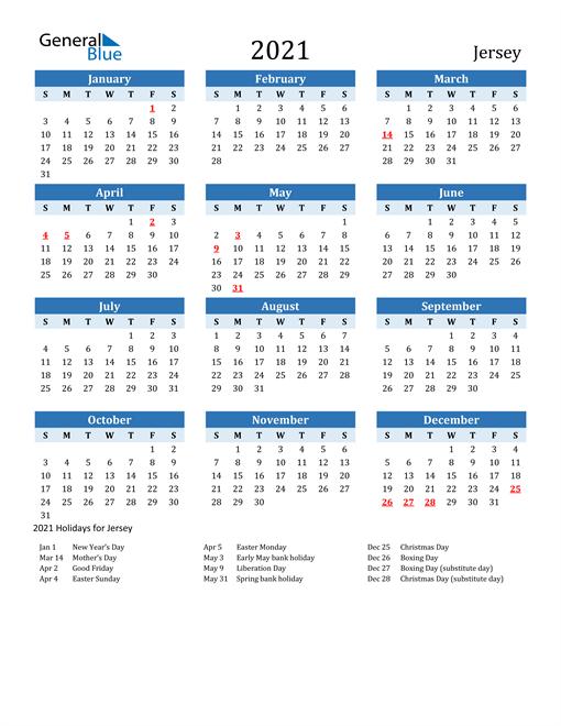 Printable Calendar 2021 with Jersey Holidays