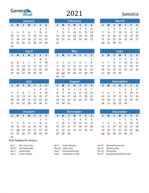 Printable Calendar 2021 with Jamaica Holidays