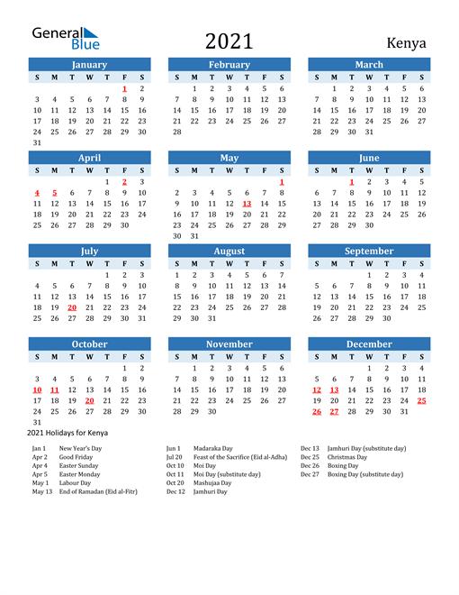 Printable Calendar 2021 with Kenya Holidays