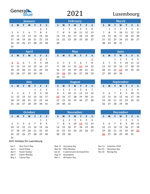 Image of Luxembourg 2021 Calendar Two-Tone Blue with Holidays