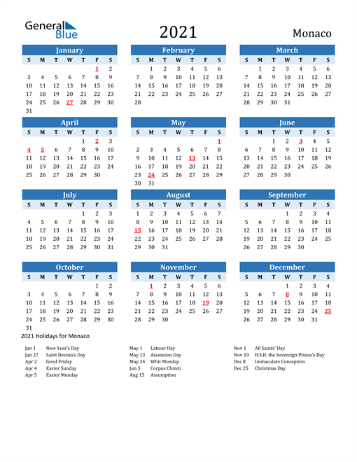 Image of Monaco 2021 Calendar Two-Tone Blue with Holidays