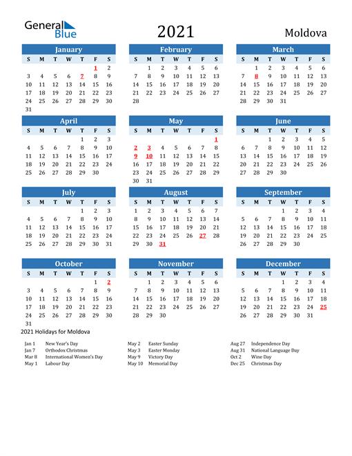 Printable Calendar 2021 with Moldova Holidays