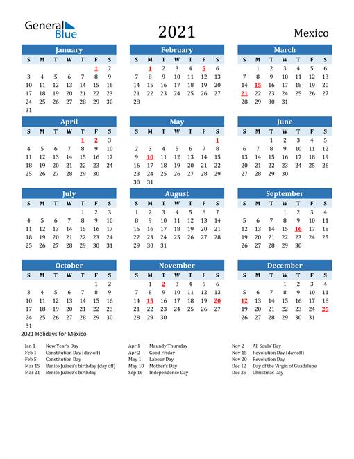Printable Calendar 2021 with Mexico Holidays