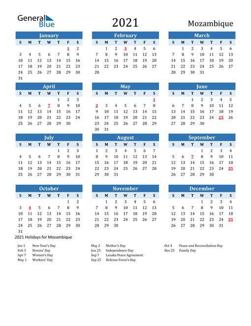 Printable Calendar 2021 with Mozambique Holidays
