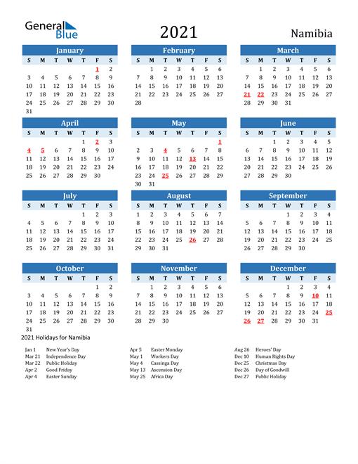 Printable Calendar 2021 with Namibia Holidays