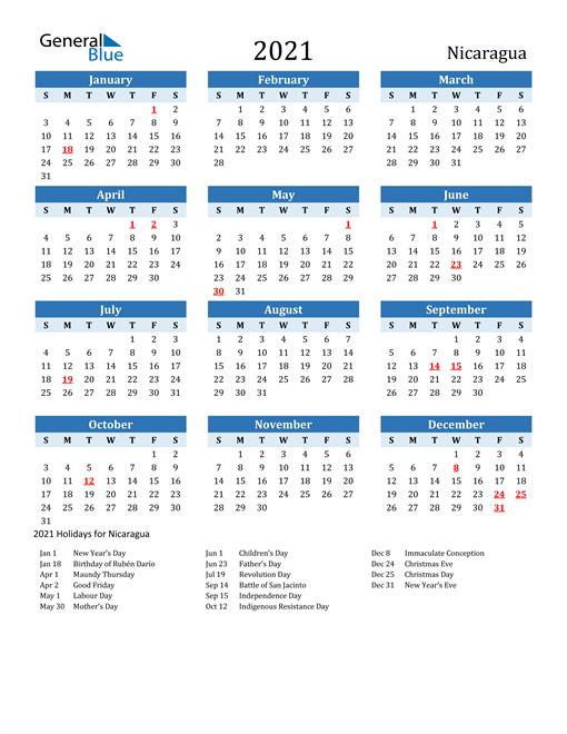 Printable Calendar 2021 with Nicaragua Holidays
