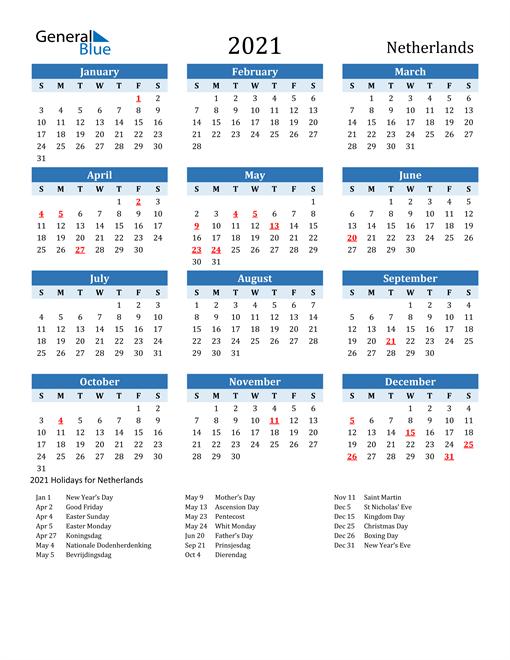 Printable Calendar 2021 with Netherlands Holidays