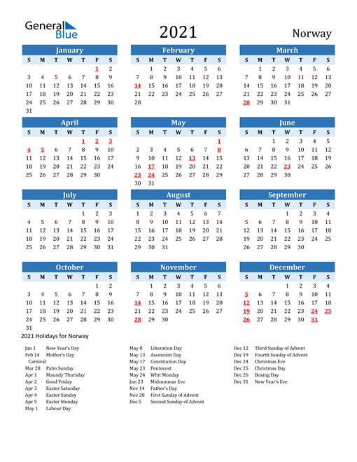 Image of Norway 2021 Calendar Two-Tone Blue with Holidays
