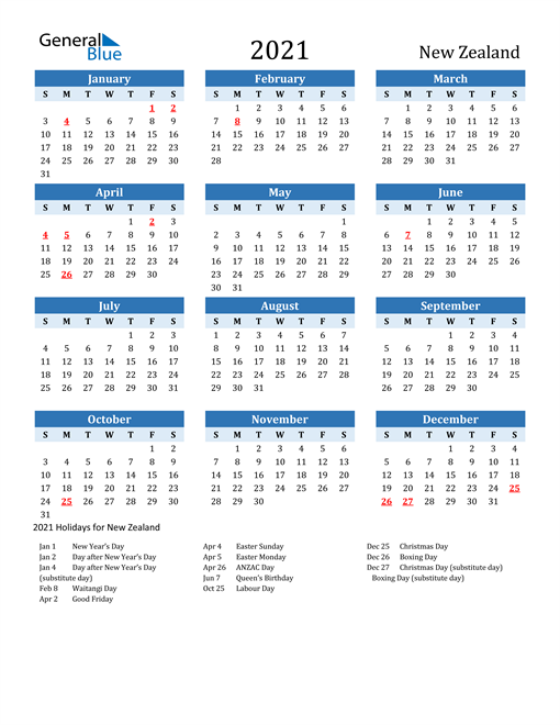 Printable Calendar 2021 with New Zealand Holidays