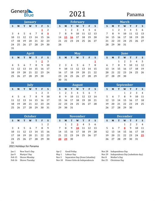 Printable Calendar 2021 with Panama Holidays