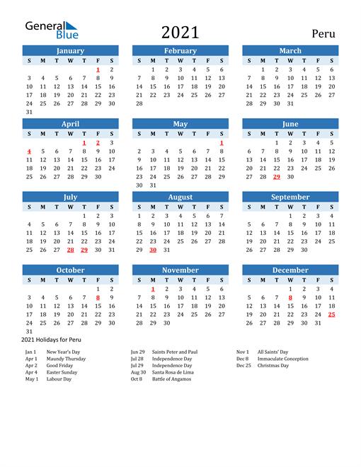 Printable Calendar 2021 with Peru Holidays