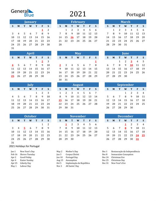 Printable Calendar 2021 with Portugal Holidays