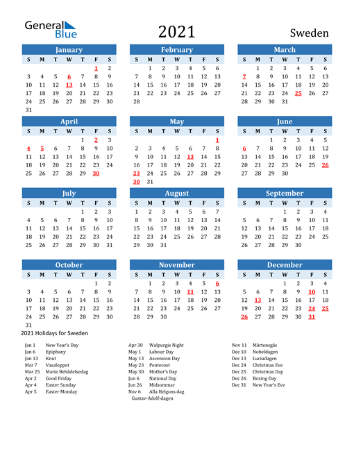 Image of Sweden 2021 Calendar Two-Tone Blue with Holidays