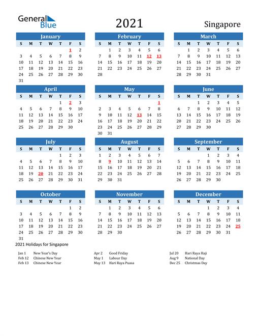 2021 Calendar - Singapore with Holidays
