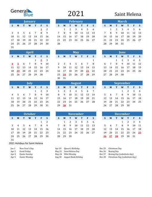 Printable Calendar 2021 with Saint Helena Holidays
