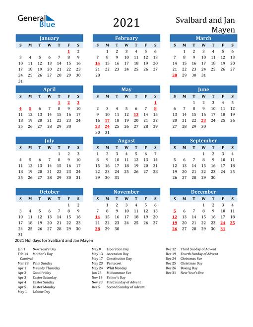 Printable Calendar 2021 with Svalbard and Jan Mayen Holidays