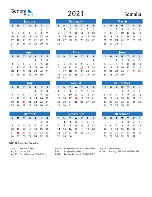 Image of Somalia 2021 Calendar Two-Tone Blue with Holidays