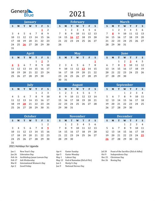 Printable Calendar 2021 with Uganda Holidays