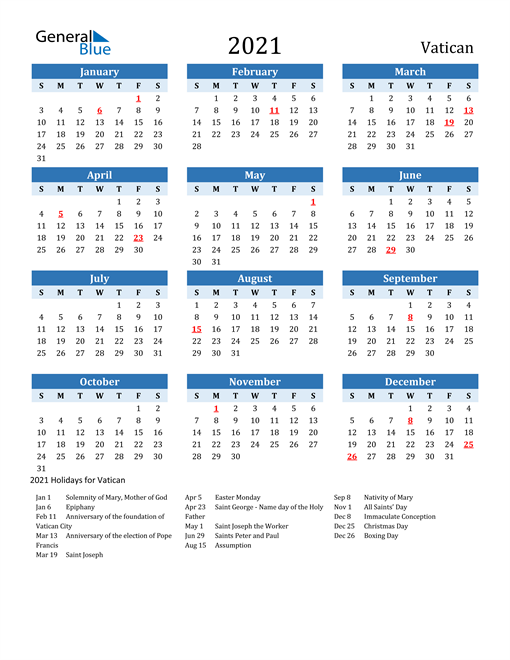 Printable Calendar 2021 with Vatican Holidays
