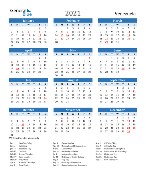 Printable Calendar 2021 with Venezuela Holidays
