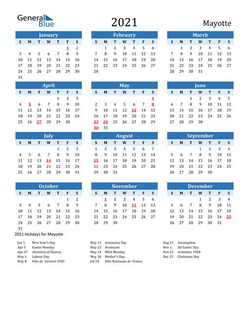 Printable Calendar 2021 with Mayotte Holidays