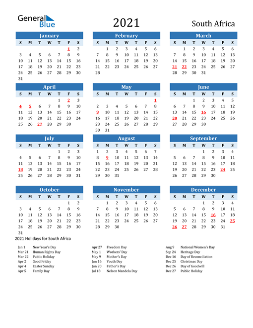 Image of South Africa 2021 Calendar Two-Tone Blue with Holidays