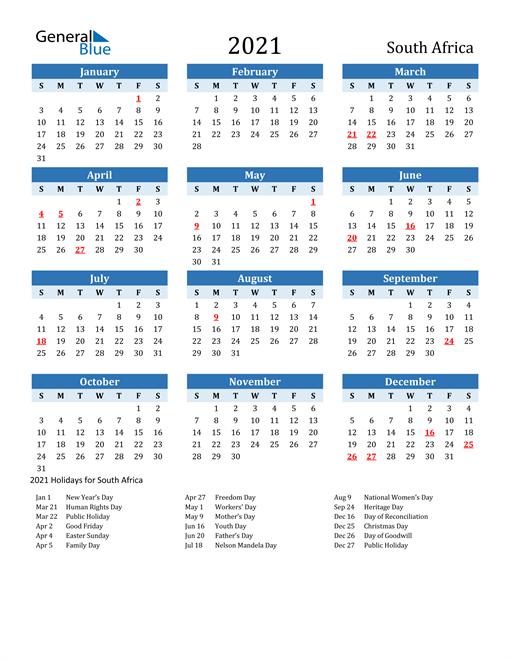 2021 Calendar - South Africa with Holidays
