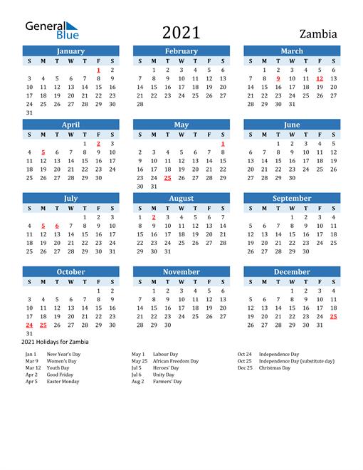 Printable Calendar 2021 with Zambia Holidays