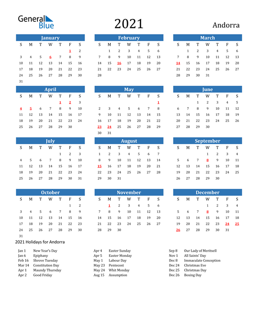 Image of 2021 Calendar - Andorra with Holidays