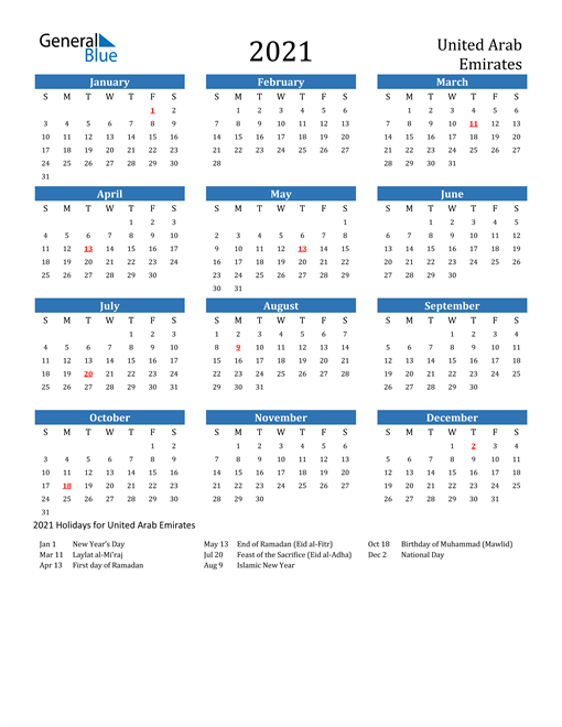 Image of 2021 Calendar - United Arab Emirates with Holidays