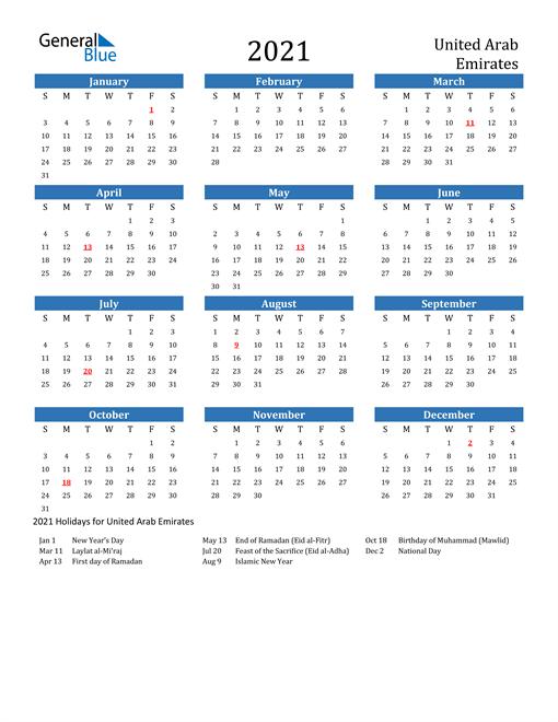 2021 Calendar with United Arab Emirates Holidays