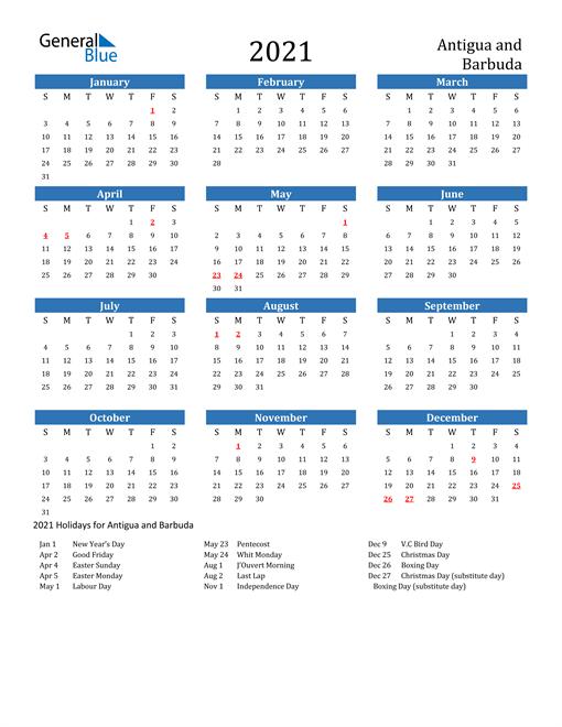 Image of 2021 Calendar - Antigua and Barbuda with Holidays
