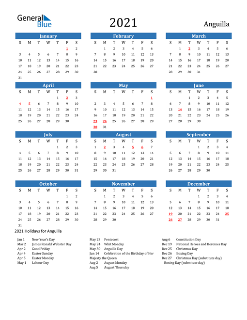 Image of 2021 Calendar - Anguilla with Holidays