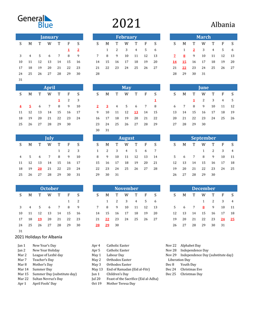 Image of 2021 Calendar - Albania with Holidays