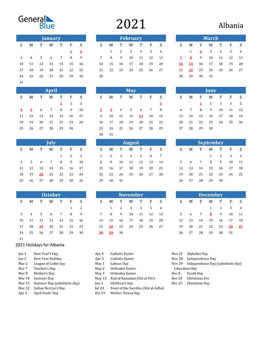 2021 Calendar with Albania Holidays