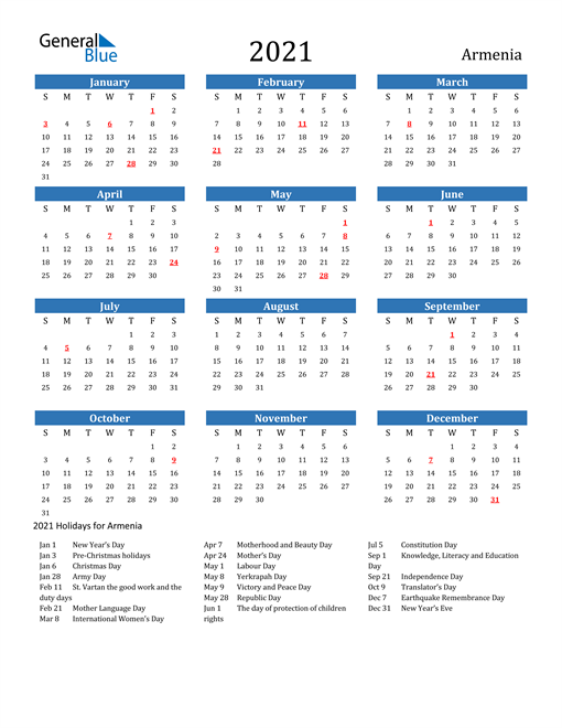Image of 2021 Calendar - Armenia with Holidays