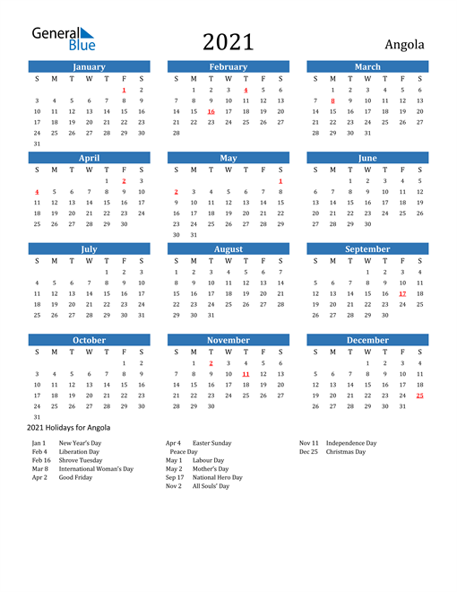 Image of 2021 Calendar - Angola with Holidays