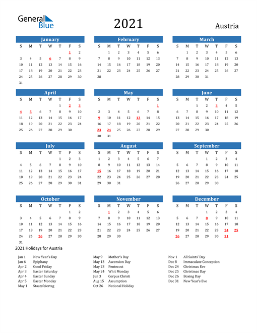 Image of 2021 Calendar - Austria with Holidays