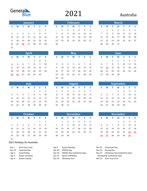 Image of 2021 Calendar - Australia with Holidays